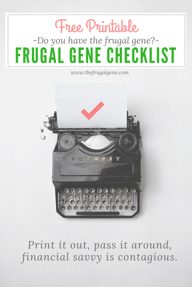 frugal gene checklist, color printables, b/w printables, budget, frugal gene